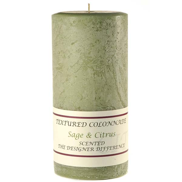 Textured Sage and Citrus 4 x 9 Pillar Candles