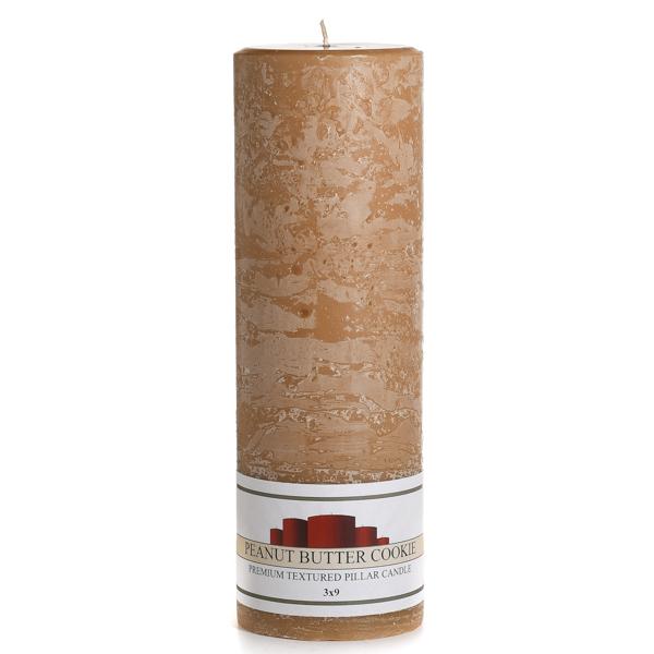 Textured Peanut Butter Cookie 3 x 9 Pillar Candles