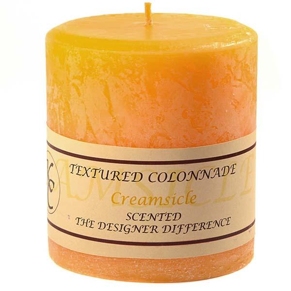 Textured Creamsicle 4 x 4 Pillar Candles