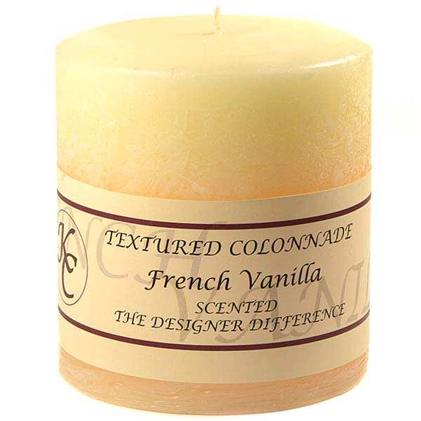 Textured French Vanilla 4 x 4 Pillar Candles