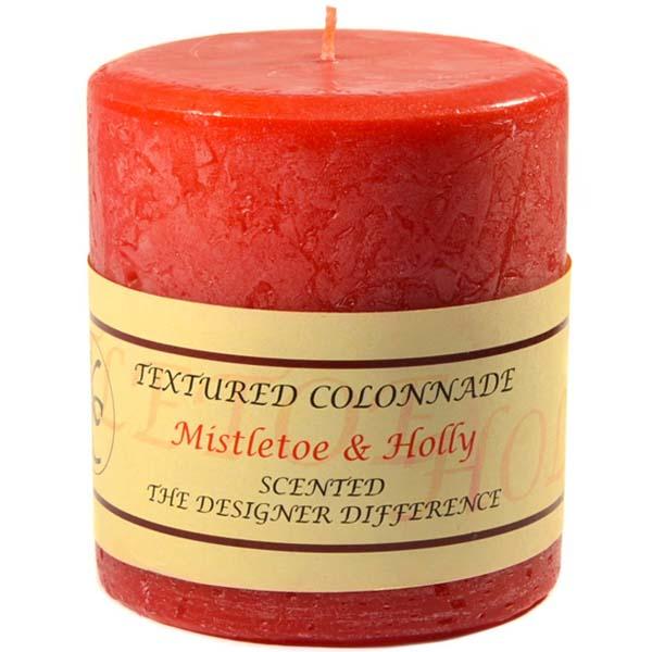 Textured Mistletoe and Holly 4 x 4 Pillar Candles