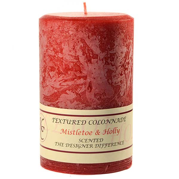Textured Mistletoe and Holly 4 x 6 Pillar Candles