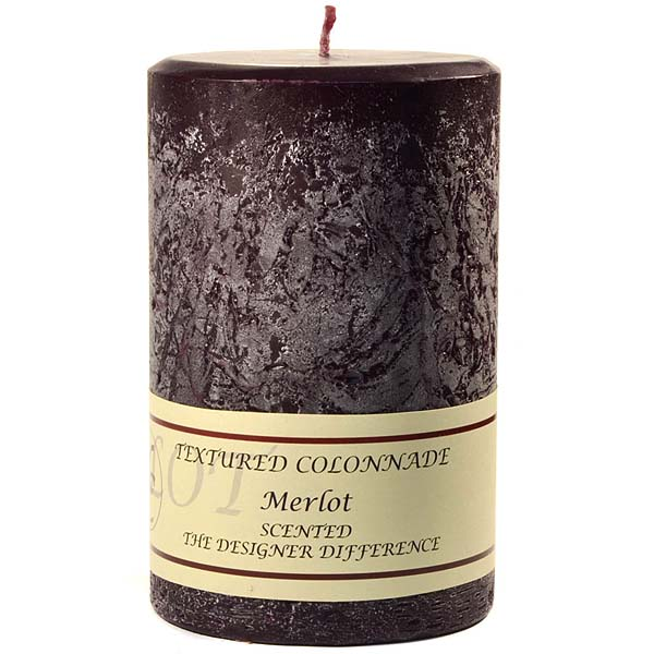 Textured Merlot 4 x 6 Pillar Candles
