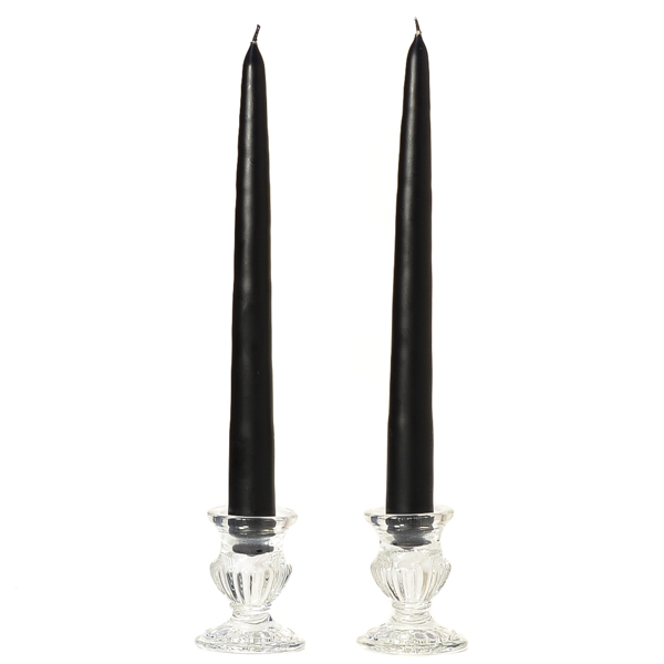 6 Inch Black Taper Candles Dozen