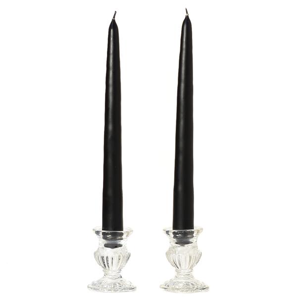 10 Inch Black Taper Candles Dozen