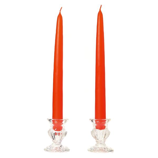 12 Inch Burnt Orange Taper Candles Dozen