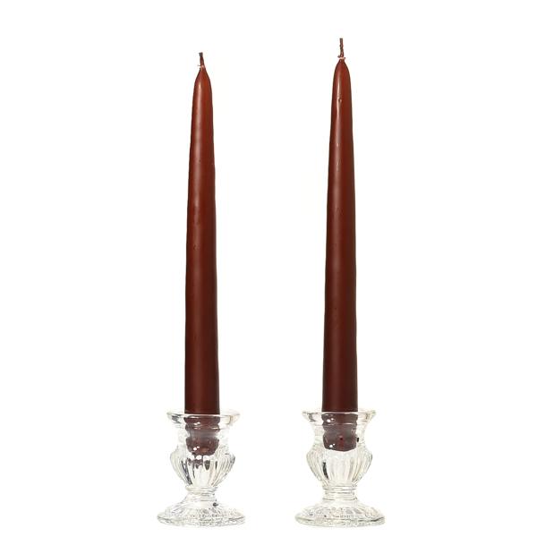 8 Inch Brown Taper Candles Dozen