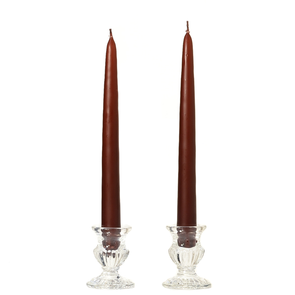 12 Inch Brown Taper Candles Dozen