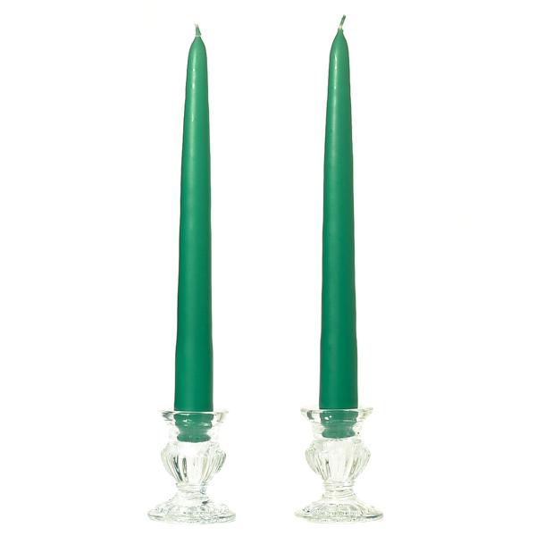 12 Inch Forest Green Taper Candles Dozen