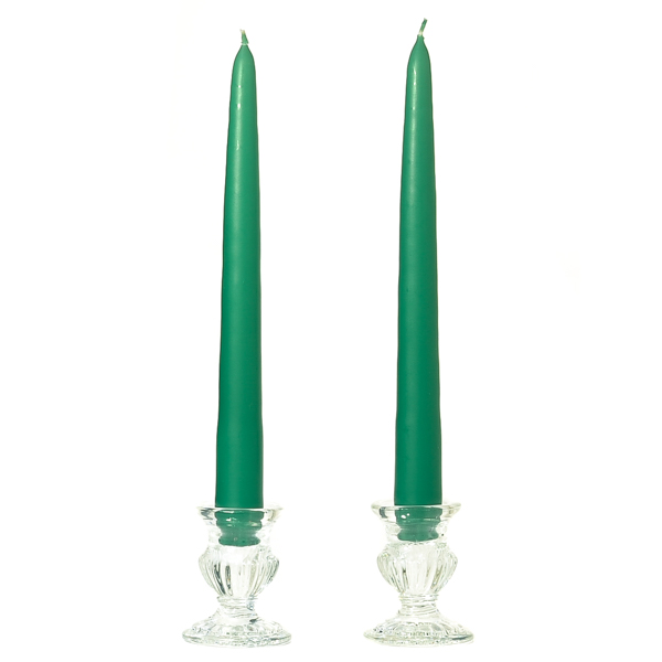15 Inch Forest Green Taper Candles Pair