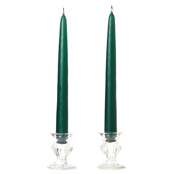 15 Inch Hunter Green Taper Candles Dozen