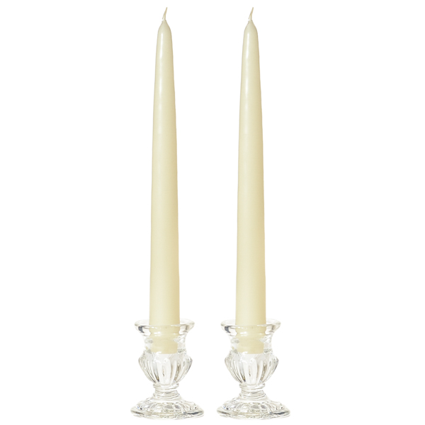 8 Inch Ivory Taper Candles Pair