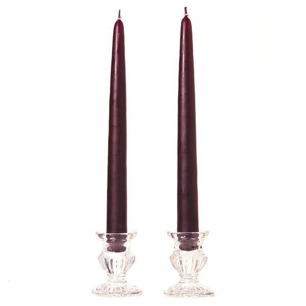 10 Inch Plum Taper Candles Dozen
