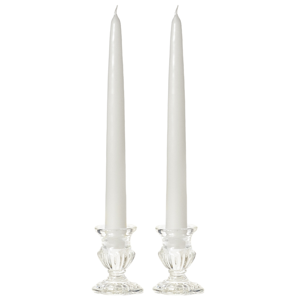 8 Inch White Taper Candles Pair