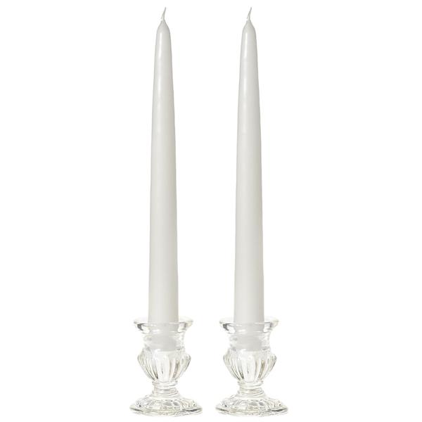 10 Inch White Taper Candles Dozen