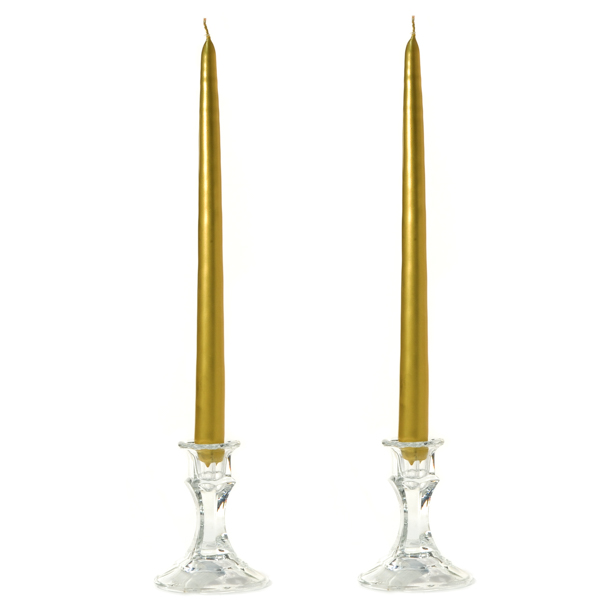 12 Inch Metallic Gold Taper Candles