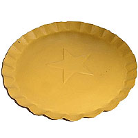 7.5 Inch Tin Plates With Scalloped Edge Yellow