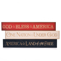 Patriotic Wooden Wall Signs Set of 3