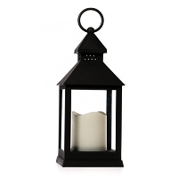 LED Candle In Plastic Black Lantern