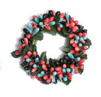 Rice Berry 1.5 Inch Candle Ring Coral Blue