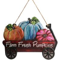 Farm Fresh Pumpkins Wagon Metal Sign