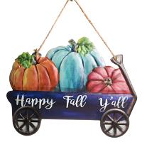 Happy Fall Yall Wagon Metal Sign