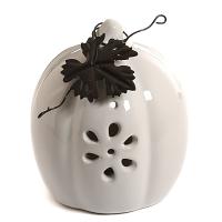 Ceramic Pumpkin Accent with Metal Leaf White