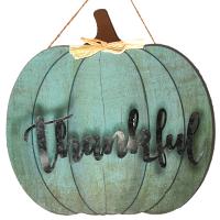 Hanging Pumpkin Sign Blue Thankful