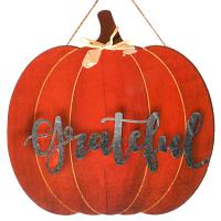 Hanging Pumpkin Sign Orange Grateful