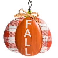 Pumpkin Shaped Metal Sign Fall