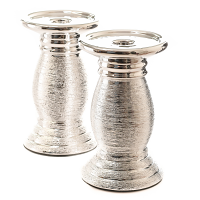 Silver Ceramic Pillar Candle Holders Set of 2