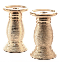 Gold Ceramic Pillar Candle Holders Set of 2