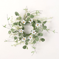 Daisy Eucalyptus Candle Ring 4.5 Inch