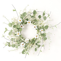 Daisy Eucalyptus Candle Ring 6.5 Inch