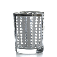 Metallic Silver Dotted Votive Cup