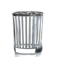Metallic Silver Stripe Votive Cup