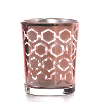 Metallic Rose Gold Hexagonal Votive Cup