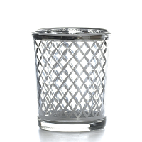 Metallic Silver Lattice Votive Cup