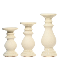 Cream Candle Holder Set of 3