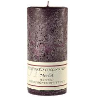 Textured Merlot 3 x 6 Pillar Candles