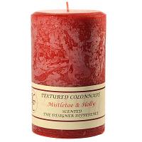 Textured Mistletoe and Holly 4 x 6 Pillar Candles