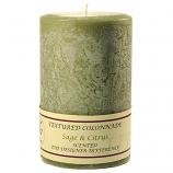 Textured Sage and Citrus 4 x 6 Pillar Candles