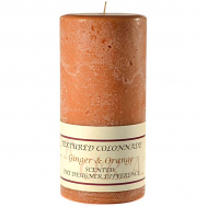 Textured Ginger and Orange 4 x 9 Pillar Candles