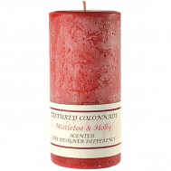 Textured Mistletoe and Holly 4 x 9 Pillar Candles