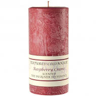 Textured Raspberry Cream 4 x 9 Pillar Candles