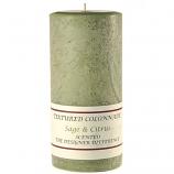 Textured Sage and Citrus 4 x 9 Pillar Candles