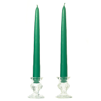 6 Inch Forest Green Taper Candles Pair