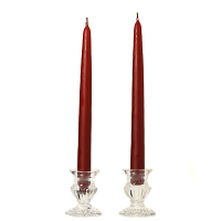 10 Inch Burgundy Taper Candles Pair