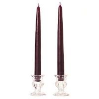 15 Inch Plum Taper Candles Pair