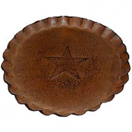 7.5 Inch Tin Plates With Scalloped Edge Rust
